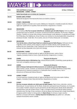 1 2015 VIVA AUSTRALIA en Español 12 Días / 10 Noches