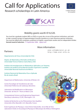 Call for Applications - SCAT - Scientific Computing Advanced Training