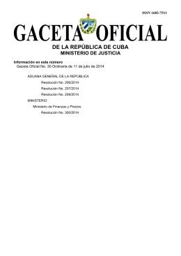 Gaceta Oficial No. 30 / 2014 - ORDINARIA - Págs. (683