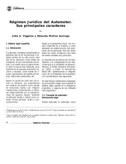 Régimen Jurídico del Automotor. Sus principales
