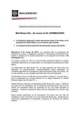 Mail Boxes Etc., de nuevo en EL HORMIGUERO