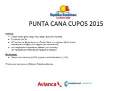 PUNTA CANA CUPOS 2015