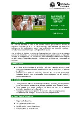 XXXIX TALLER DE MANUALIDADES CREATIVAS - CEC-PUCP