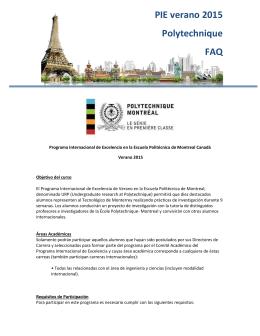 PIE verano 2015 Polytechnique FAQ