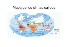 Mapa de los climas cálidos