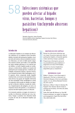 virus, bacterias, hongos y parásitos (incluyendo abscesos hepáticos)