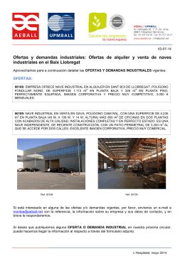 Ofertas y demandas industriales: Ofertas de alquiler y venta de