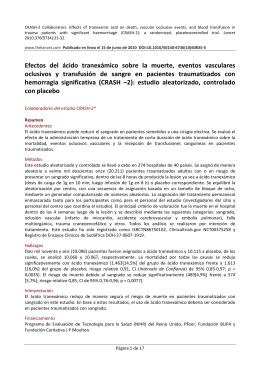 Efectos del ácido tranexámico sobre la muerte, eventos - CRASH-2