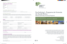 Pre-Solicitud – Programa de Vivienda de Ayuda Mutua
