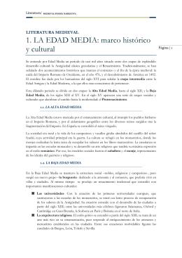 1. LA EDAD MEDIA: marco histórico y cultural