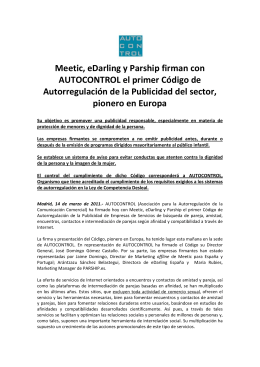 Meetic, eDarling y Parship firman con AUTOCONTROL el primer