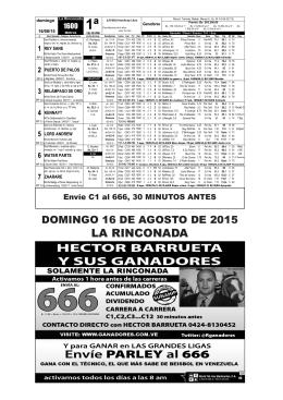 Inscritos y retrospectos La Rinconada Domingo