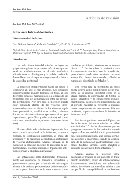 Infecciones Intra-abdominales. Lovera D, Sanabria G, Arbo A.