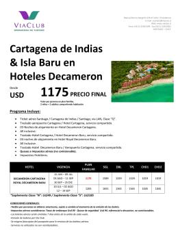 Cartagena de Indias & Isla Baru en Hoteles Decameron