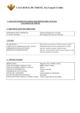 folleto informativo del prestamo hipotecario