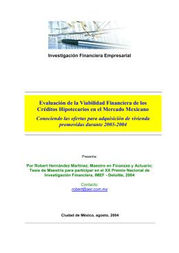 Evaluación de la Viabilidad Financiera de los Créditos Hipotecarios