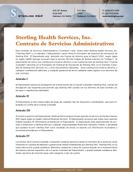 Sterling Health Services, Inc. Contrato de Servicios