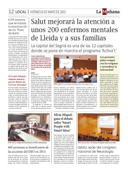 Salut mejorará la atención a unos 200 enfermos mentales de Lleida