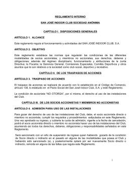 1 REGLAMENTO INTERNO SAN JOSÉ INDOOR CLUB SOCIEDAD
