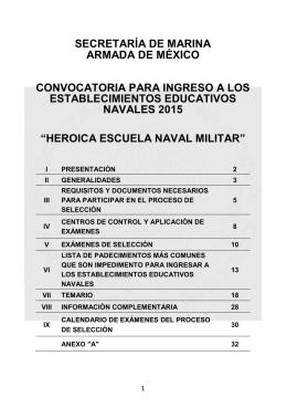 Instructivo de la convocatoria de ingreso a la Heroica Escuela Naval