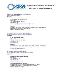 secretaría de desarrollo económico directorio de maquiladoras 2012