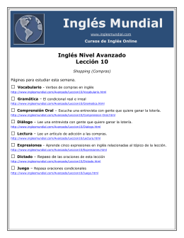 Inglés Nivel Avanzado Lección 10