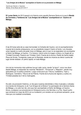 """""""Los Amigos de la Música"""" acompañan al Cautivo en su procesión"""