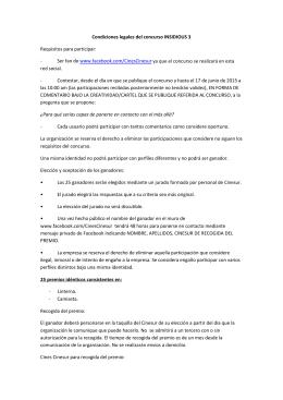 Condiciones legales del concurso INSIDIOUS 3 Requisitos para