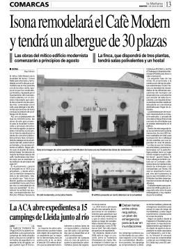 La ACA abre expedientes a 15 campings de Lleida