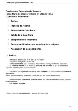 Condiciones generales de reserva CRII