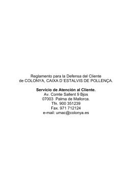 Reglamento para la Defensa del Cliente de COLONYA, CAIXA D