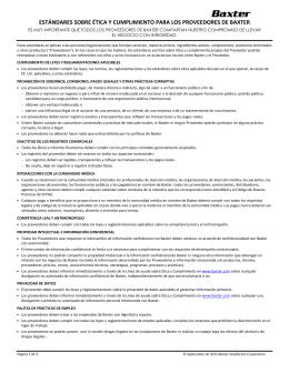 estándares sobre ética y cumplimiento para los proveedores de baxter