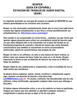 REAPER (GUÍA EN ESPAÑOL) ESTACION DE TRABAJO DE