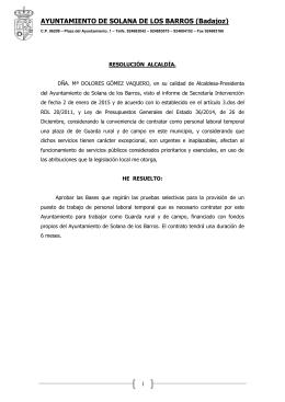 AYUNTAMIENTO DE SOLANA DE LOS BARROS (Badajoz)