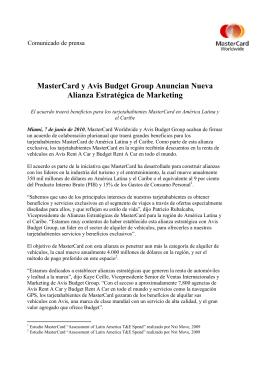 MasterCard y Avis Budget Group Anuncian Nueva Alianza