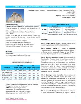 atenas 4n & crucero de islas griegas y turquía 3n 2015