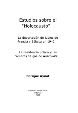 """Estudios sobre el """"Holocausto"""""""