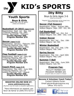 KID`s SPORTS - Yakima Family YMCA