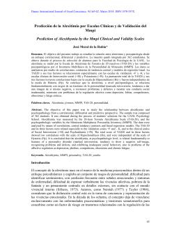 Predicción de la Alexitimia por Escalas Clínicas y de Validación del