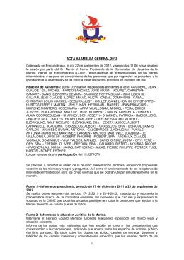 1 ACTA ASAMBLEA GENERAL 2012 Celebrada en Empuriabrava