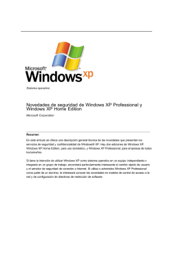 Novedades de seguridad de Windows XP Professional y Windows