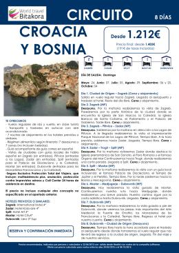 Croacia y Bosnia desde 1.212€ + tasas