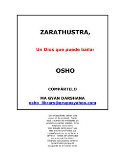 Zarathustra un Dios que puede bailar