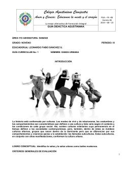 Guía Curricular No. 1 Danzas 9° III Periodo
