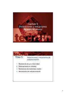 Capítulo 5 Dislocaciones y mecanismos de endurecimiento TEMA 5: