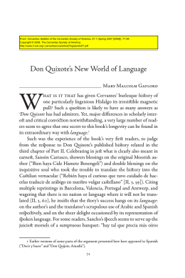 Don Quixote`s New World of Language - H-Net