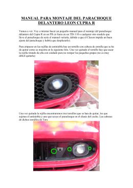 manual para montaje del parachoque delantero leon cupra r