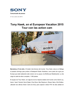 Tony Hawk, en el European Vacation 2015 Tour con las action cam