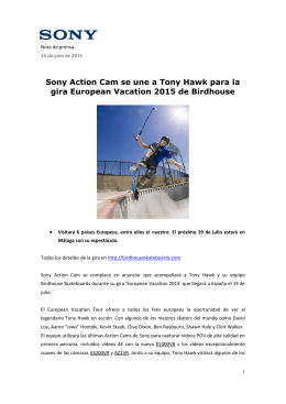 Sony Action Cam se une a Tony Hawk para la gira European