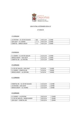 Calendario de la Liga de Veteranos 2014-15